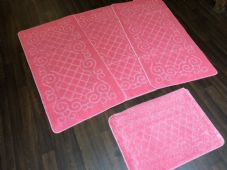 ROMANY WASHABLES NEW GYPSY SET OF 4PC LIGHT PINK MATS NON SLIP TOURER SIZES RUGS